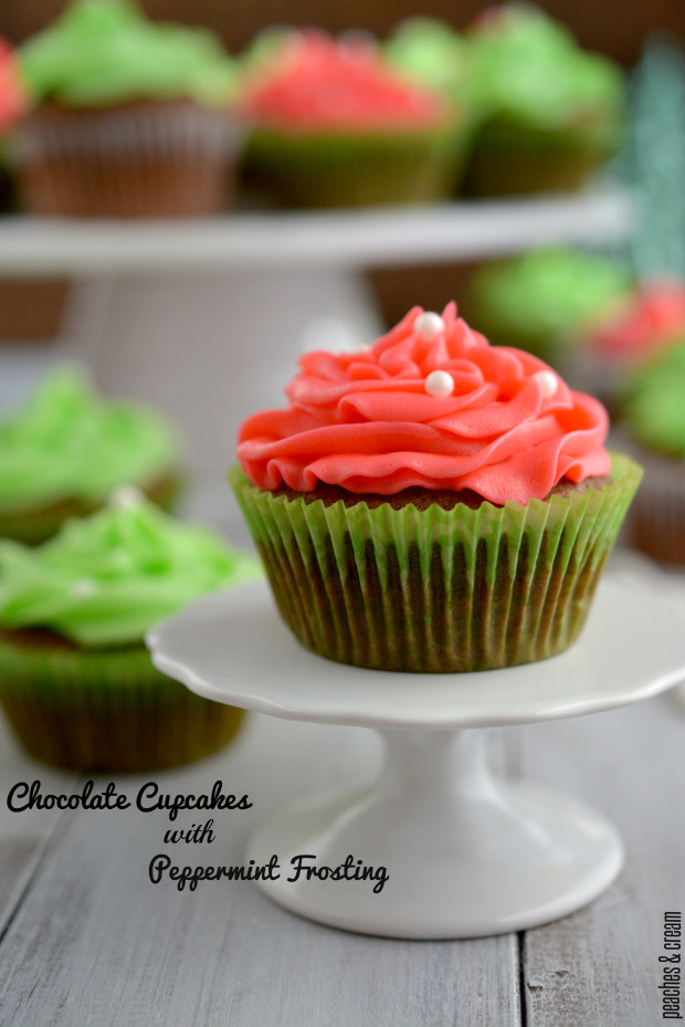 Chocolate Cupcakes with Peppermint Frosting_Peaches&Cream